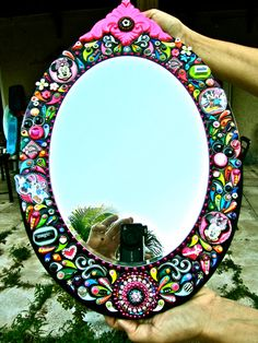 Minnie Mouse Mirror Embellished Disney Jeweled OOAK Hand Crafted Custom Made Wall Art Decor.