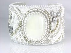 Beaded Jewelry Bead Embroidery White Bracelet by LiTelleJewelry