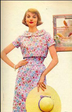 1959 Iris Bianchi in slim summer dress with cropped top, Burda Moden
