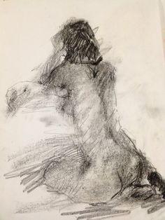 "Título: ""La vi de espaldas"" Autor: Ramiro Beltrán Twitter: @rabeltm Técnica: carbón sobre papel"