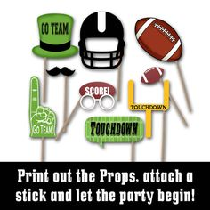 Items similar to Vikings Football Photo Booth Props and Party Decorations - Printable Photo Props - Over 40 Props in PDF Format - Printable Digital File on Etsy Football Banquet, Football Tailgate, Football Birthday, Patriots Football, Cowboys Football, Custom Football, Buccaneers Football, Tailgating, Football Season