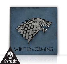 Game Of Thrones House Stark Canvas Print 30x30cm by Occultix