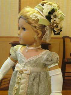 Evening Elegance Gown for Caroline Abbott 1812 American Girl Doll 18in"