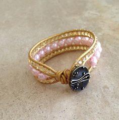 Handmade designer beaded cuff wrap bracelet baby pink pearls & gold accents bohemian leather wrap bracelet decorative bronze clasp free ship
