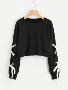 Romwe Eyelet Lace Up Sleeve Crop Sweatshirt Trend Fashion, Teen Fashion Outfits, Outfits For Teens, Girl Fashion, Preteen Fashion, Crop Top Outfits, Cute Casual Outfits, Stylish Outfits, Cute Crop Tops