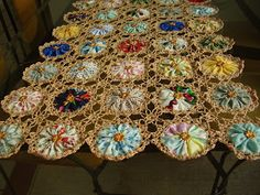 ♨ ♨ Toalhinha de Fuxico e Crochê -  /   ♨ ♨   Washcloth  in Fuxico and Crochet -