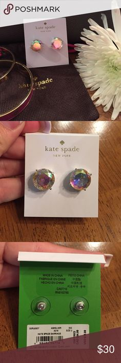 💥🆕 Aurora Borealis & Silver Kate Spade Earrings BNWT Iridescent large circle Kate Spade studs w/ silver hardware. Really gorgeous & sparkly! kate spade Jewelry Earrings