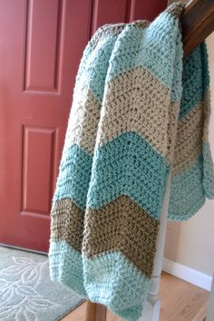 Chevron Crochet Baby Blanket. $35.00, via Etsy.