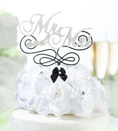 Wedding Cake Topper - Mr. & Mrs. Cake Pick.  www.ceceliasbestwishes.com