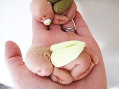 Tiny Miniature OOAK Polymer Clay ANGEL Baby with by LorisLittles, $20.00