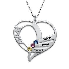 Customised Necklace WIth 3 Names and Birthstones   #necklace #customised #customized #birthstones #names