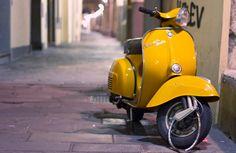 happy yellow vespa