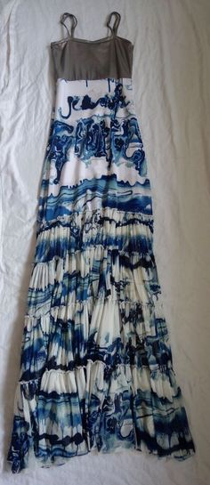 ~ JEAN PAUL GAULTIER BRONZE AND BLUE PRINTED MAXI DRESS (OFF TO CANNES!)  ~ XS #JeanPaulGaultier #Maxi