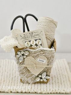 This is a lovely little vintage inspired basket made using a square peat pot. These are just so charming, and can be filled with pretties for display,