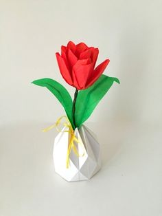 Talia origami amazing gifts and diy paper small origami tulip arrangement in origami vase mightylinksfo