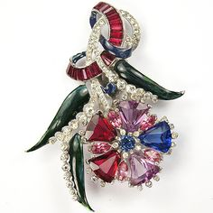 Mazer Multicolour Stones Tapered Ruby Baguettes Swirl and Enamel Floral Spray Dress Clip