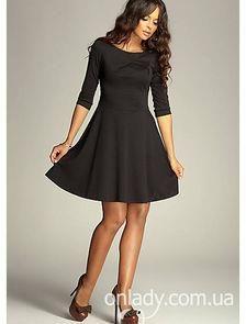 Чёрное короткое платье с расклешенными рукавами фото
