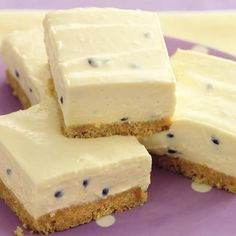 Passion Fruit Cheesecake with Graham Crackers, Butter, Soft Cheese, Sweetened Condensed Milk, Lemon Juice, Passion Fruit Pulp.