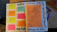 FB * Bullet Journal Junkies  Finished my meal planning spread with inspiration from this awesome group. I think it's going to be perfect for me. I can switch meals to different days whenever I want but still have the same shopping list.