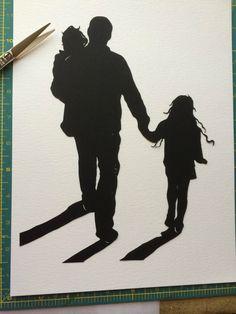 Custom Family Silhouette Portrait - Hand Cut Paper Silhouette - 3