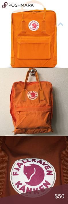 Burnt Orange FJALLRAVEN KÅNKEN Backpack Authentic Fjallraven regular sized backpack. Willing to trade for another FJALLRAVEN. Used. Has pen marks in front pocket as shown in picture.      Online Description: Kånken has a large main compartment with a large opening, two side pockets, a zippered pocket in the front, handle at the top, narrow, supple shoulder straps, a sitting pad in the pocket and logo that doubles as a reflector. Fjallraven Bags Backpacks