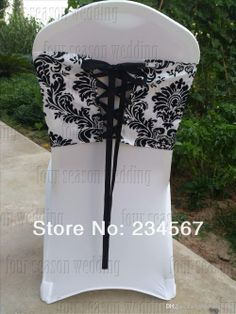 Taffeta chair cover Damask Wedding, Wedding Sash, White Chair Covers, Sash Belts, Flocking, Corset, Your Style, Black And White, Bridal