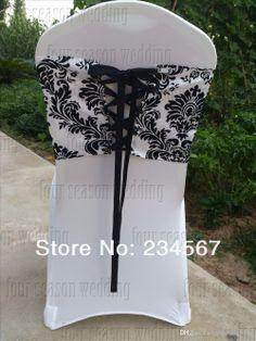 Taffeta chair cover Damask Wedding, Wedding Sash, White Chair Covers, Sash Belts, Flocking, Corset, Bridesmaid, Black And White, Bridal