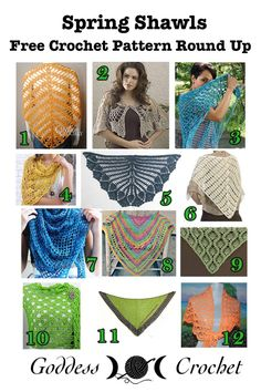 Roundup: 12 free crochet patterns for spring shawls, curated by Goddess Crochet
