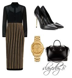 """Black and Gold."" by slayedbybri on Polyvore featuring Versace, Givenchy, Tom Ford, Jaeger and Balmain"