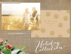 Classic Wreath Christmas Card Design / Monogram / Family or Newlywed Photo / Holiday Cards / Polka Dots / Gold / Metallic Pearl Shimmer Paper