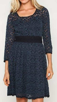 Marineblu Navy Lace A-Line Dress