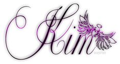 Kim the Name Backgrounds | Glitter Text » First Names » Kim pink wings