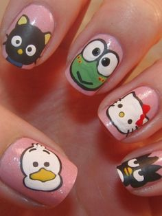 Funky Colorful Nail Art Ideas 2012 - Cartoon characters and polka dots radiate a joyful attitude towards beauty trends.