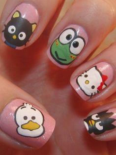 Funky Colorful Nail Art Ideas 2012 - Cartoon characters and polka dots radiate a joyful attitude towards beauty trends.