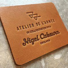 Atelier de l'Armée                                                                                                                                                                                 More Patch Design, Tag Design, Label Design, Leather Stamps, Leather Label, Garra, Logo Branding, Logos, Leather Engraving