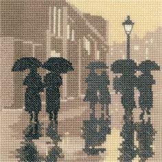 Brollies - Sepia Cross Stitch