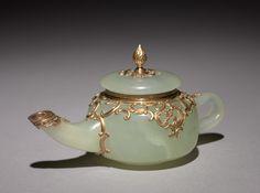 Miniature Teapot, before 1896, Fabergé, workmaster Mikhail Perkhin, jade, gold