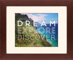 Dream Explore Discover Framed Print, Brown, Contemporary, Black, Cream, Single piece, 11 x 14 inches, White