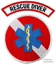 LOT of 2 RESCUE DIVER PATCH - SCUBA EMT/EMS/Paramedic EMBROIDERED IRON-ON DIVE #CypressCollectiblesInc #Patches
