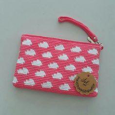 Crochet pink cloud pouch Crochet Purse Patterns, Crochet Pouch, Knit Crochet, Crochet Bags, Tapestry Bag, Tapestry Crochet, Crochet Handbags, Crochet Purses, Creative Bag