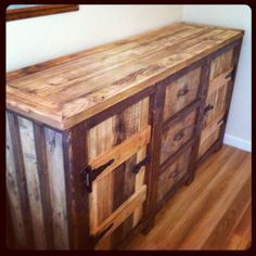 Rustic, Urban Wood Buffet Table