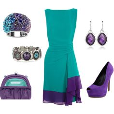 Purple & Teal - would totally need a different pair of shoes, but love the dress