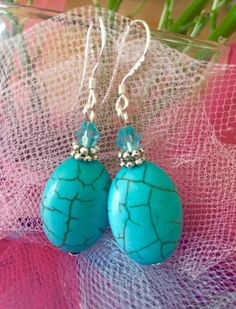 Boho Turquoise stone 925 Silver hook earrings #DropDangle