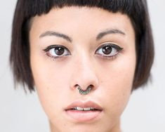 Septum Ring - Sterling Silver Nose Ring - Square Septum Ring - Septum Clicker This septum ring is designed to fit snug against your nose. It