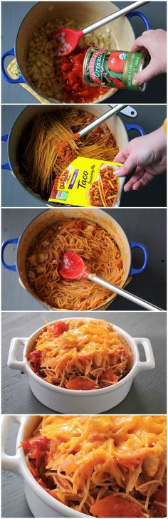 {One Pot} Mexican Spaghetti - YUMMY! I added more taco seasoning, cumin, chili powder, garlic powder, onion powder, and a dash of cayenne for a little kick! We like foods with a lot of flavor so that's why I added more seasonings. I made garlic bread to go with it. Might be good with Mexican cornbread.