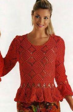 #321 Blusa a Crochet o Ganchillo