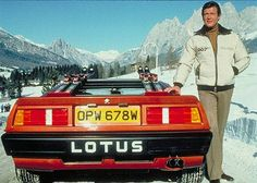 Lotus Esprit Turbo and Roger Moore as James Bond from the film shoot For Your Eyes Only