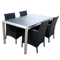#Tuinset Marlon bestaat uit een lichtgewicht aluminium tafel met Spraystone inlegbladen. Bij deze tuinset zitten vier tuinstoelen van 7 millimeter plat zwart Wicker inbegrepen. Wicker is zeer onderhoudsvriendelijk. U vindt nergens anders een goedkope tuinset van deze kwaliteit.