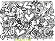 Zentangle Inspired Hearts Hearts line Art Heart by Strawberrycraft