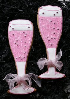 Pink Champagne Cookies. These would be adorable party favors at a bridal shower.